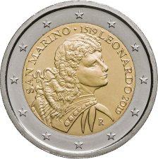 2 Euros, San Marino,500th anniversary of the death of Leonardo da Vinci, 2019