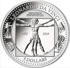 Βιτρουβιος Άνδρας, Ντα Βιντσι, 5$, Νήσοι Σολομώντος, 1 oz,Ασήμι ,999,Proof, 2019