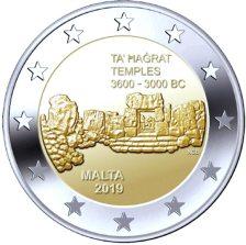 2 Euros, Προιστορικοί Ναοι Τα Χαγκράτ, Μάλτα, 2019