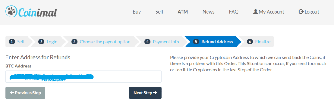 Select a Refund Address