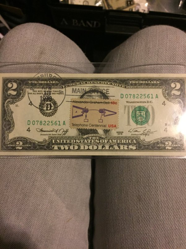1976 2 Dollar Bill With Stamp