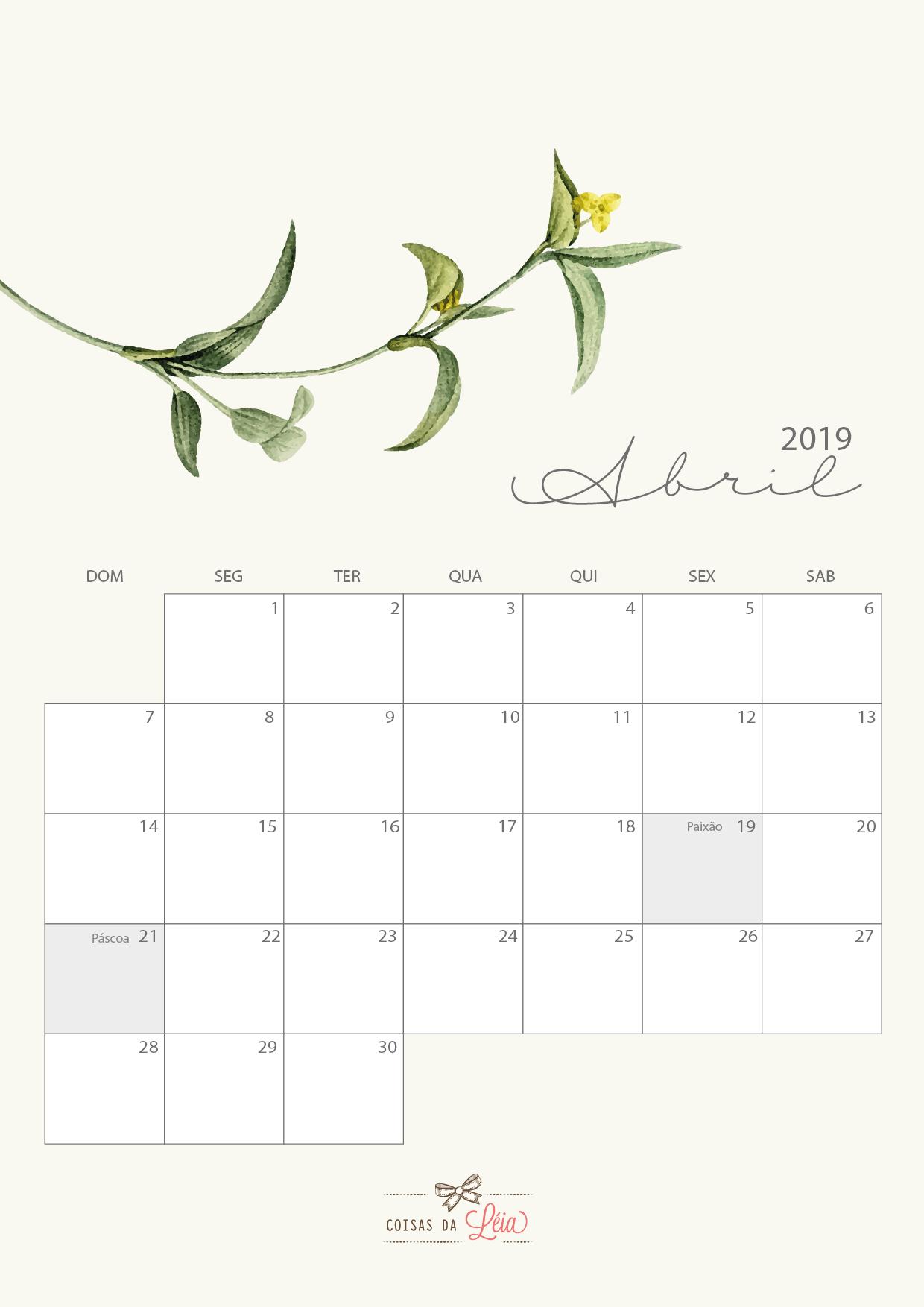 calendario 2019 para imprimir por mes