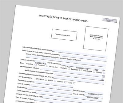 formulário para visto japonês