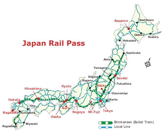 Linha shinkansen JR Pass
