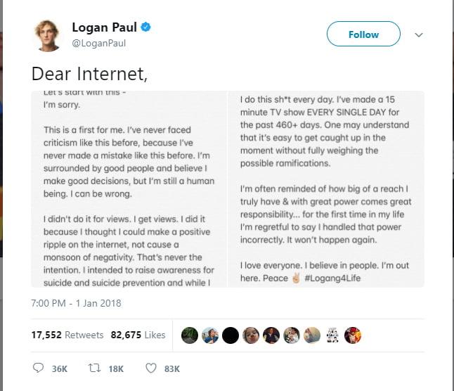 Desculpas Logan Paul