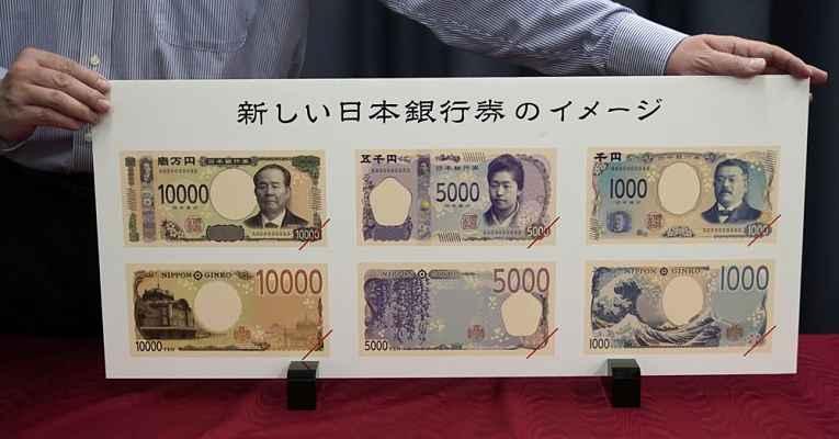 Cédulas dinheiro do Japão 2024