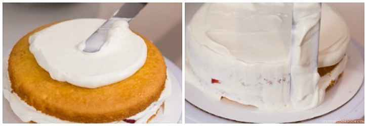 Montagem do bolo de morango
