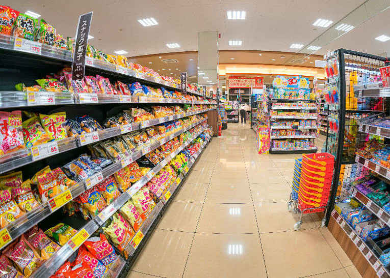 prateleira de supermercado no Japão