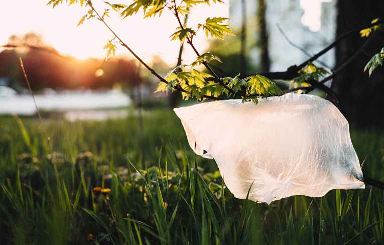 sacola plástica jogada