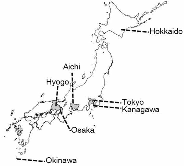 Mapa região central do Japão