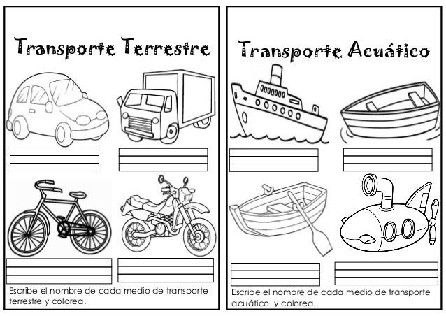 Medios De Transporte Terrestre En Ingles Para Colorear