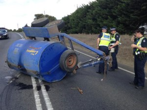 A wayward diesel trailer was involved in three crashes on the Princes Highway east of Colac on Friday.