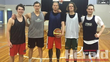 INCOMING: Colac Kookas' senior men's basketball team will have six new faces this season. Pictured from left are Denver Murnane, James Headlam, Jesse Burn, Matthew Lloyd and Lachie McHenry. Rhys Lemke is absent.
