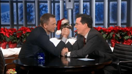 Stephen Colbert Daniel Craig arm wrestle