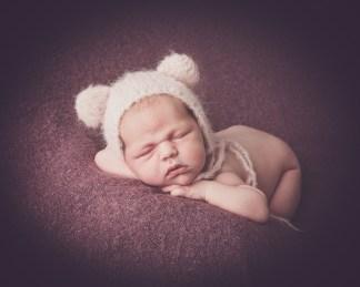 teddy hat on baby