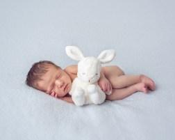 Newborn cuddling bunny