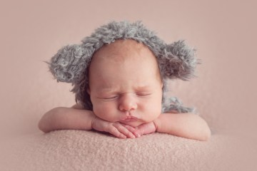 baby photo in teddy hat