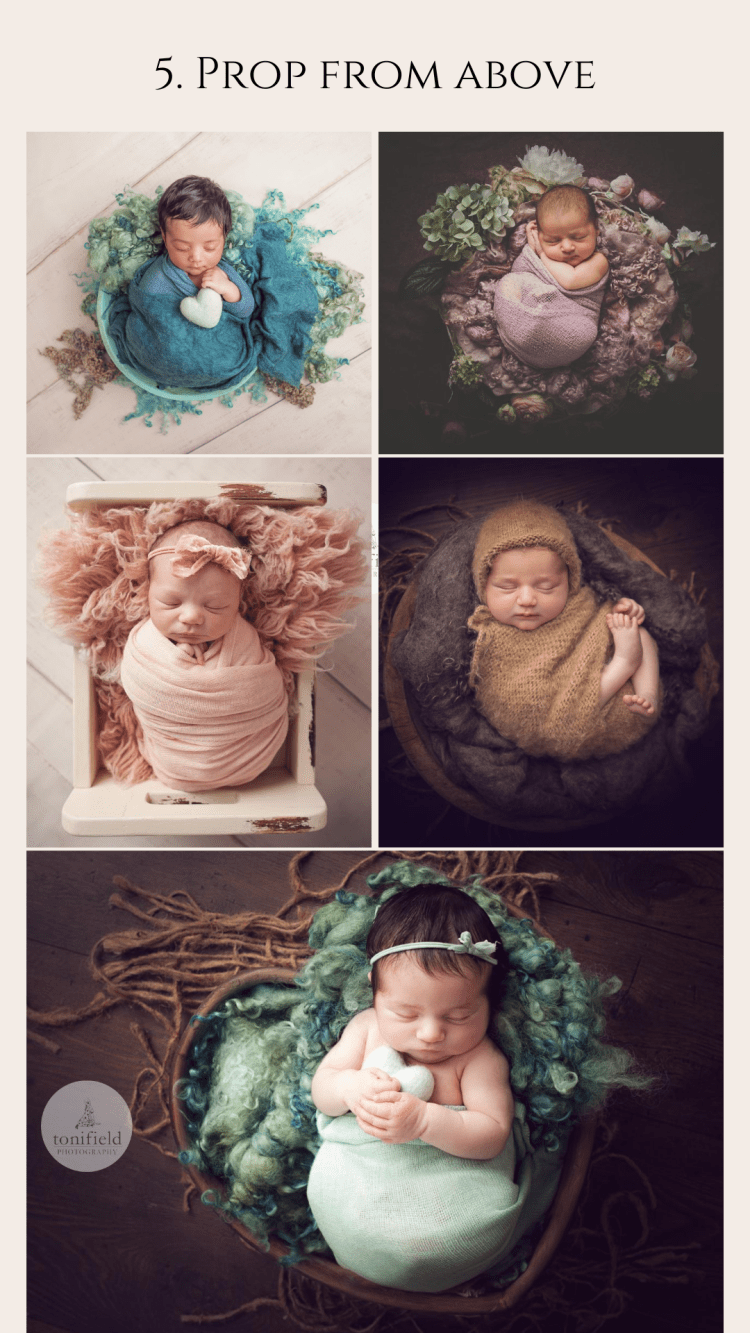 baby poses from above in props