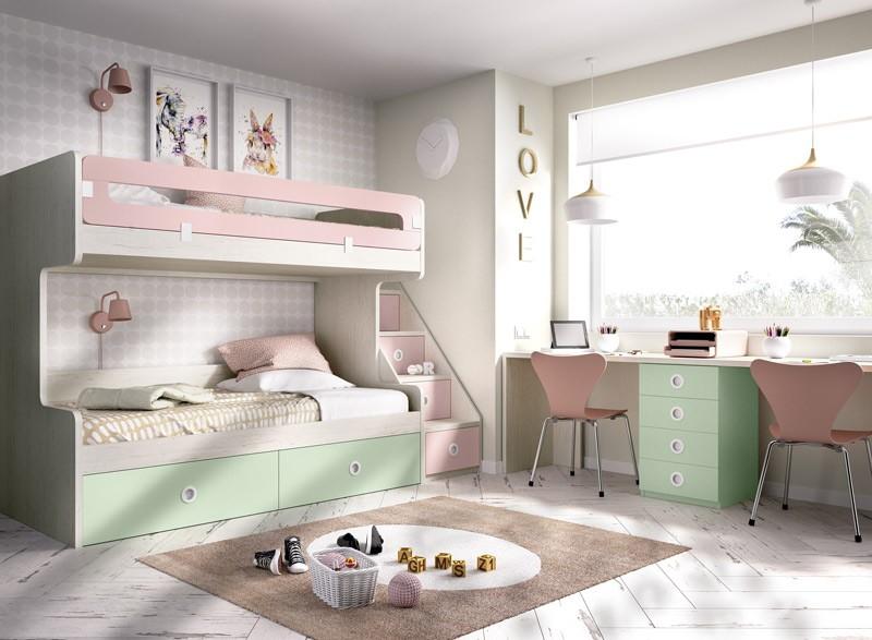 Dormitorio Juvenil con litera y escritorio doble Ref YH310