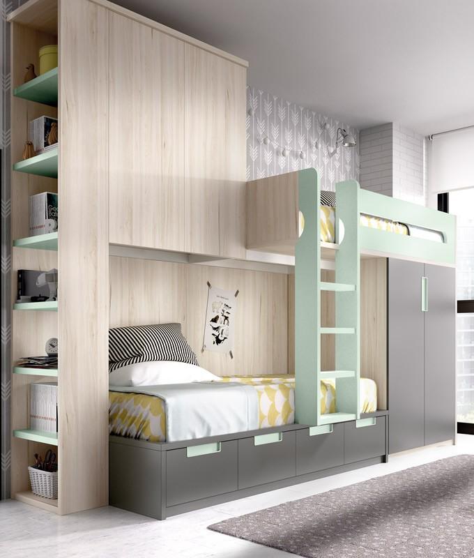 Dormitorio Juvenil con litera tren armario integrado y