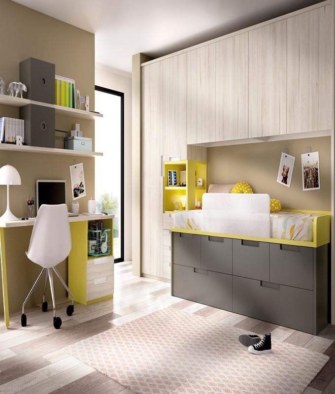 Dormitorio puente Juvenil con cama armario y escritorio