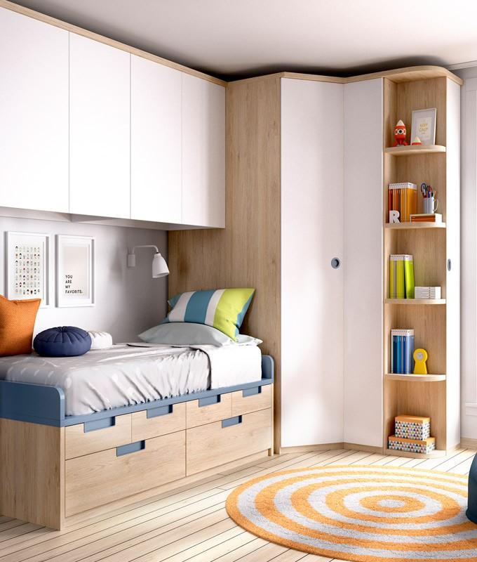 Dormitorio Juvenil con armario rincn y puente superior