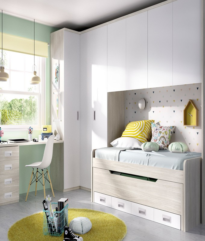 Dormitorio Juvenil con 2 camas puente armario rincn y