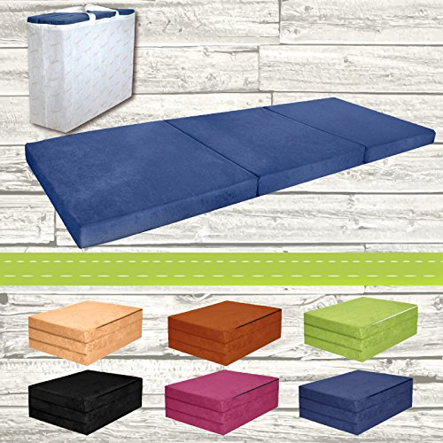 Colchón supletoria plegable cama auxiliar de cama de invitados futón puf 195x 80x 9cm Color Azul