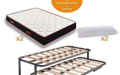 Cama nido con patas + 2 Colchones Viscoelásticos reversible MEMORY FRESH 3D + 2 almohadas de fibra 90x190cm