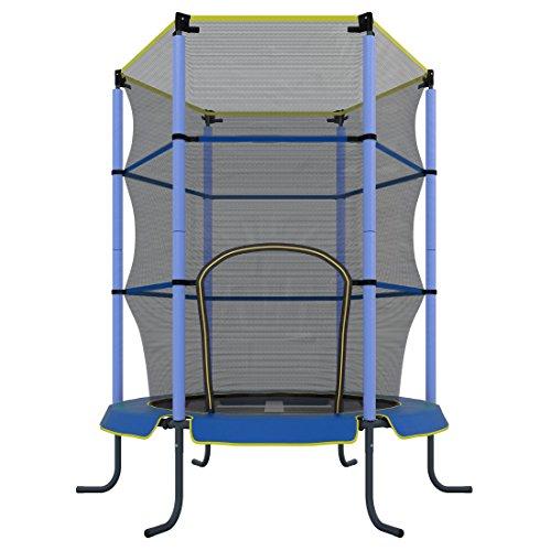 Ultrasport Cama elástica de interior Jumper 140 cm para niños, cama elástica de ocio y fitness para niños a partir de 3 años, para uso en interior, extremadamente segura con red y borde con revestimiento, Azul