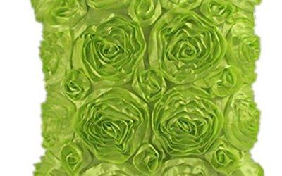 Rosa Bordado Funda de almohada,Subfamily®Moda floral decorativo satinado tiro sofá funda de almohada funda de cojín (Green)