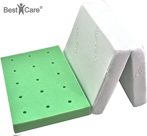 BestCare ® – Premium Colchón cama para viaje, 7 cm de alto, funda con aloe vera, no requiere sábana, con canales de ventilación