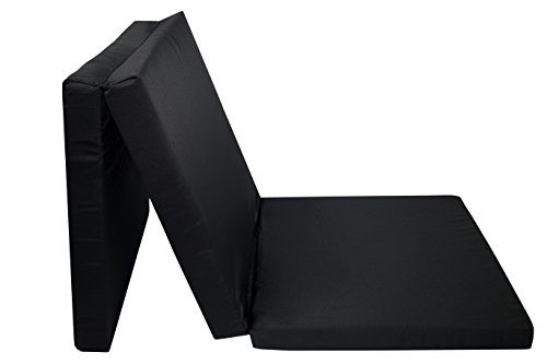 ZOLLNER Colchón Plegable para Camping, 65×195 cm, Negro, en Otros Colores, Ideal para visitas e Invitados, Serie Club