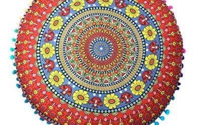 Funda de almohada redonda bohemia,Subfamily® India Mandala Almohada de suelo redonda bohemia Cojín Decking casero Funda de almohada (Red)