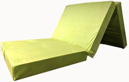 Colchón plegable tamaño XXL con aspecto de terciopelo, cama auxiliar para invitados, dimensiones: 195x 80x 10cm , verde, 195 x 80 x 10 cm