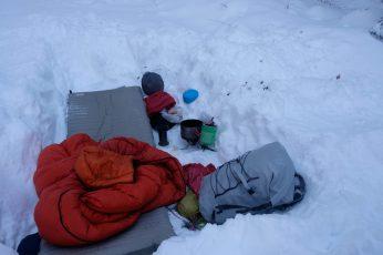 Snowy overnight campsite