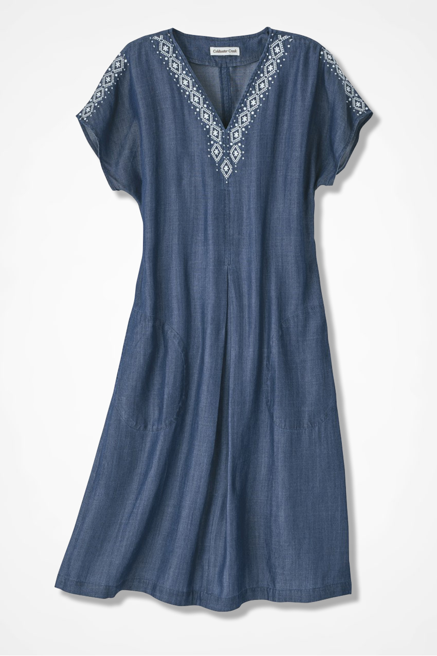 Embroidered Trim Tencel Dress Coldwater Creek