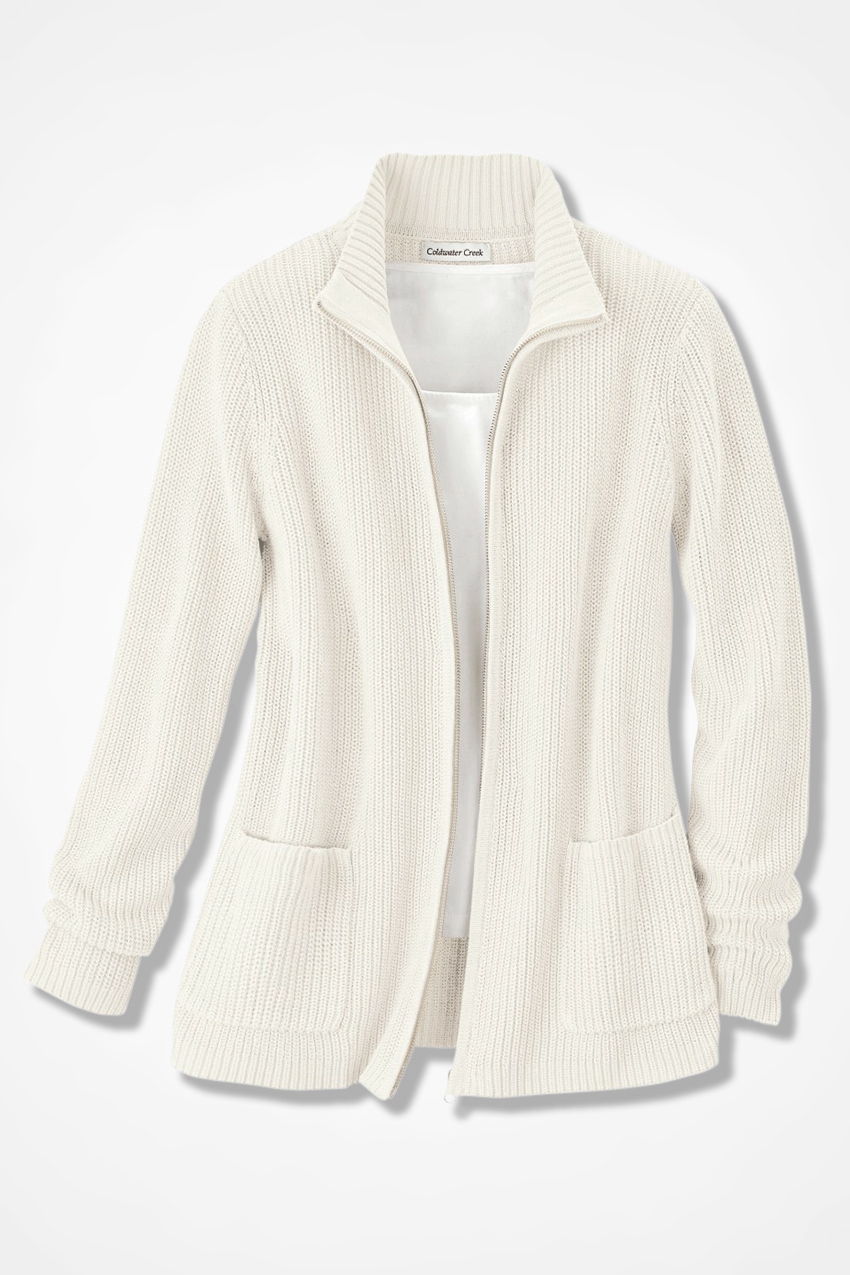 Shaker ZipFront Cardigan  Coldwater Creek