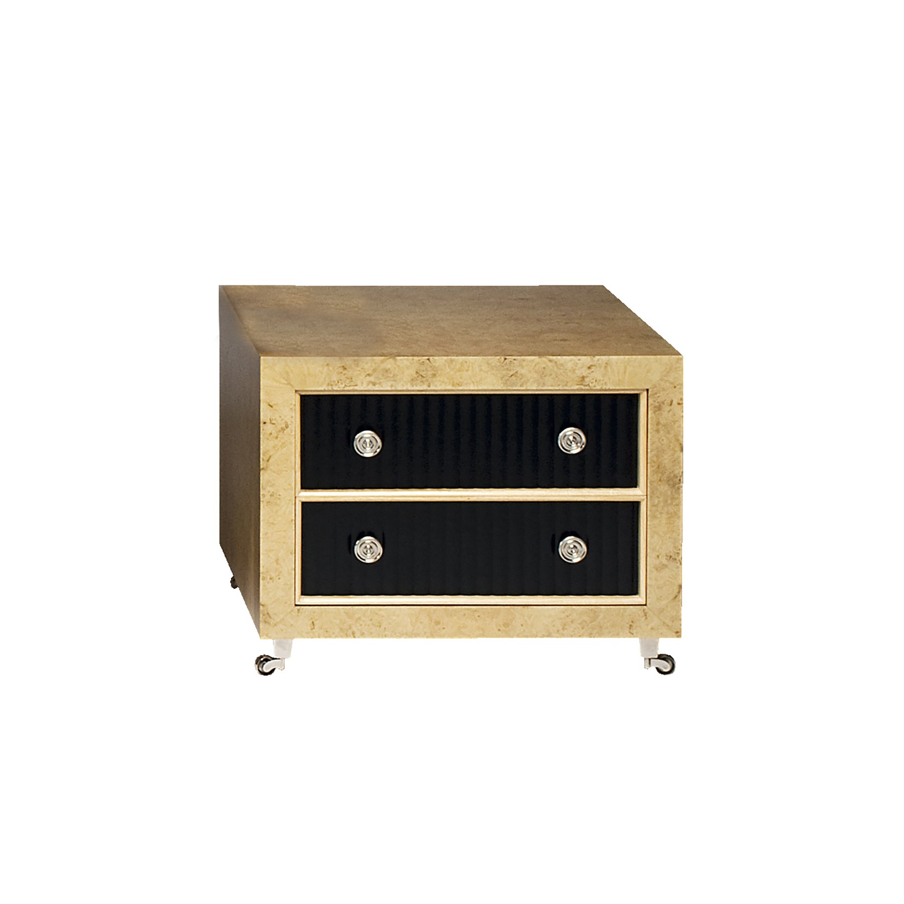 Leonid Chest Of Drawers Myrtle Wood Black Eco Leather