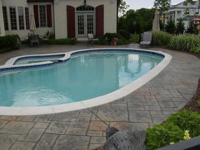 decorative stamped concrete pool decks