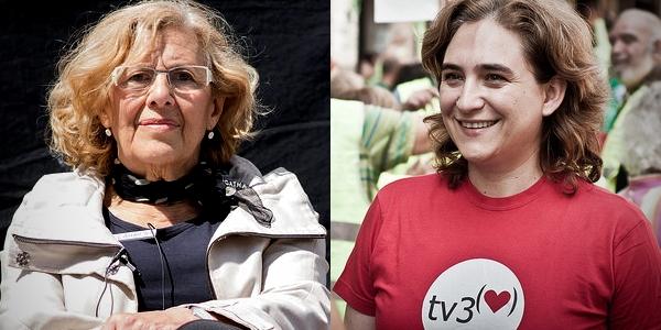 Manuela Carmena por Myriam Navas - Ahora Madrid y Ada Colau por Andrea Ciambra