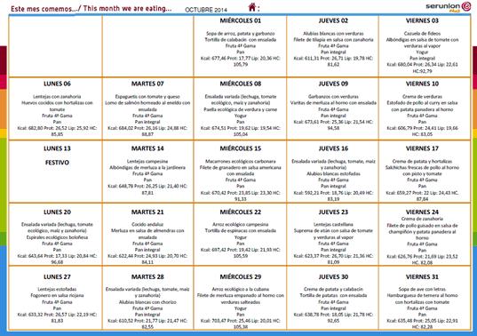 Men del Comedor Escolar  Octubre 2014  CEIP Arias