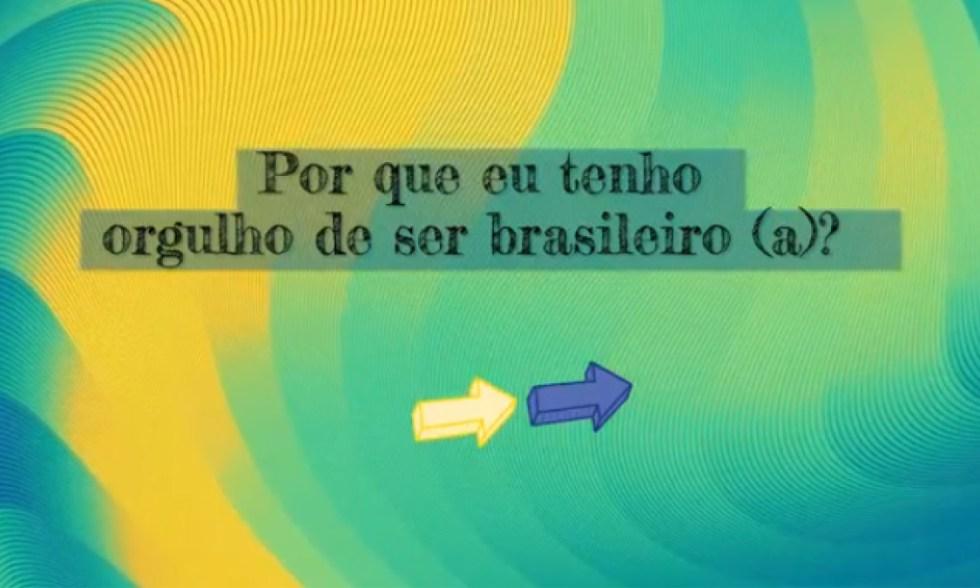 Depoimento! Estudantes do Ensino Fundamental gravam vídeo contando porque têm orgulho de ser brasileiros.