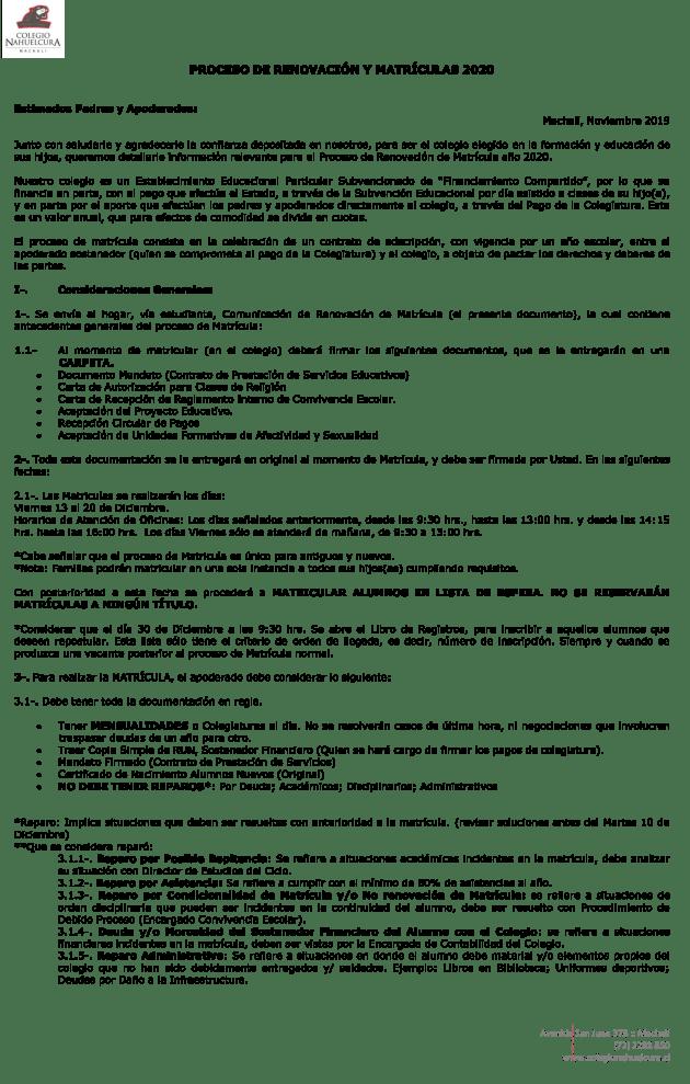 RENOVACION MATRICULAS 2020-1