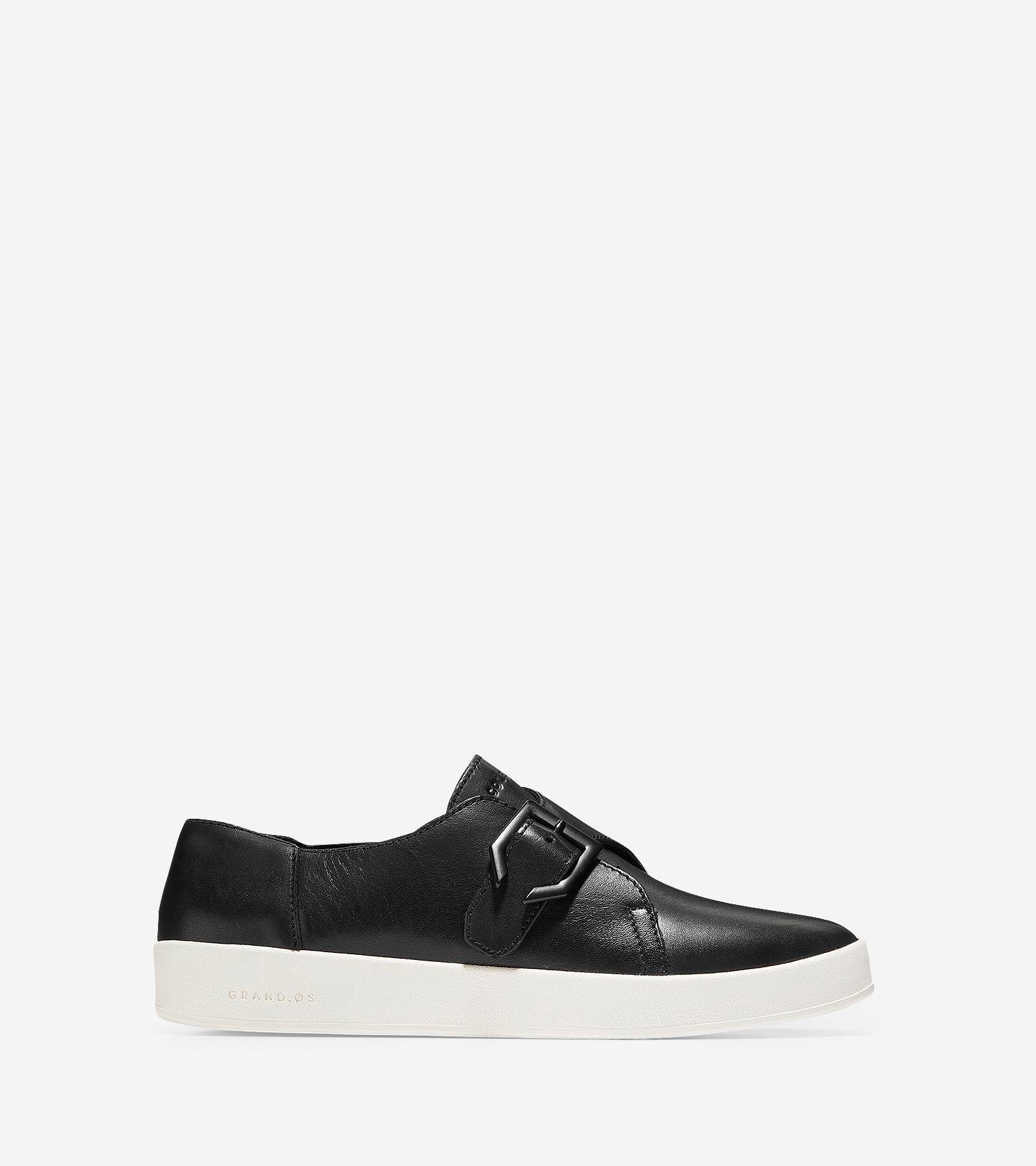 Womens White Leather Slip Ons
