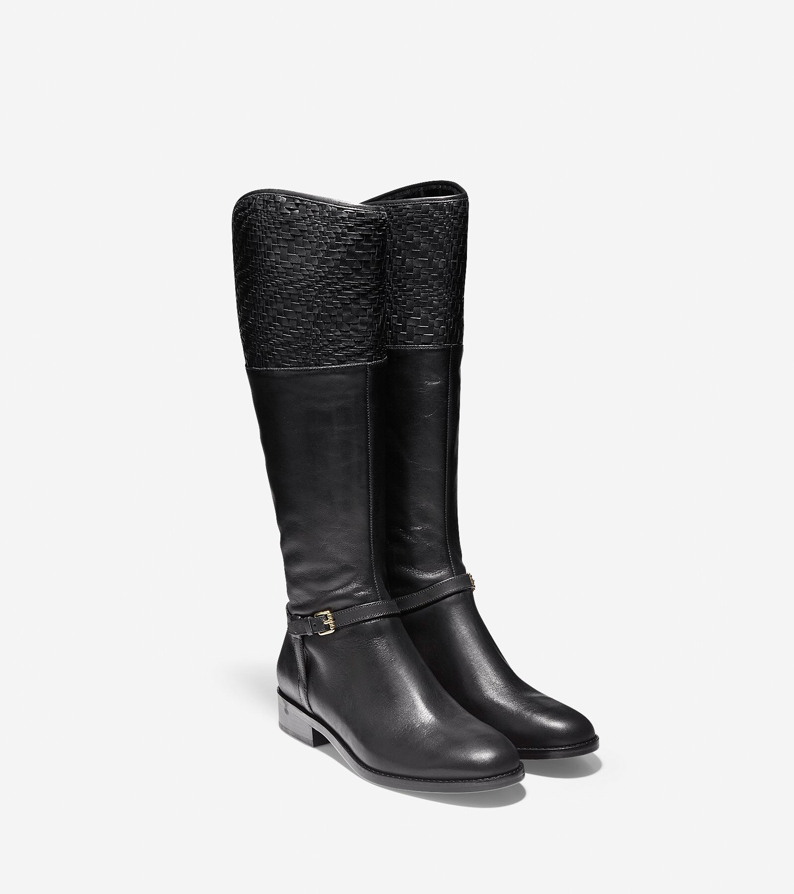 Women' Genevieve Weave Boots In Black Leather Cole Haan