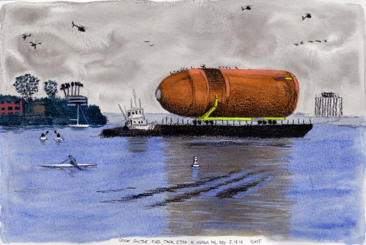 Space Shuttle Fuel Tank ET94 in Marina Del Rey 5.18.16 2016 Ink, gouache and china marker on paper 10x15 inches