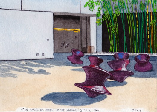 Spun Chairs and Bamboo at The Hammer, 2.23.16 2016 Ink and gouache on paper 5.5 x 8 inches