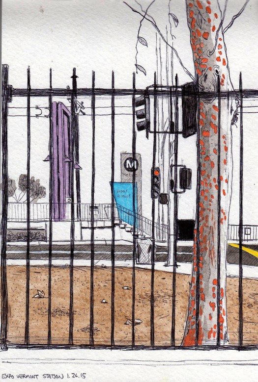 Natural History Museum Metro Station 2014 ink and gouache on paper 8x5 inches