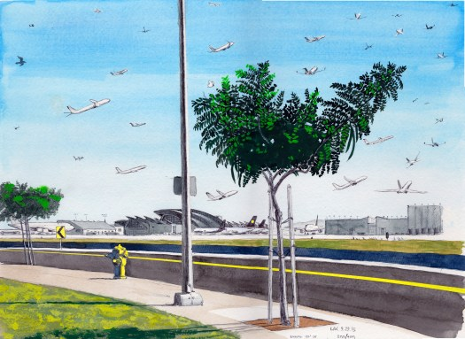 LAX 9.29.15 Looking 150 Degrees Southeast 2015 Ink and gouache on paper 11x15 inches